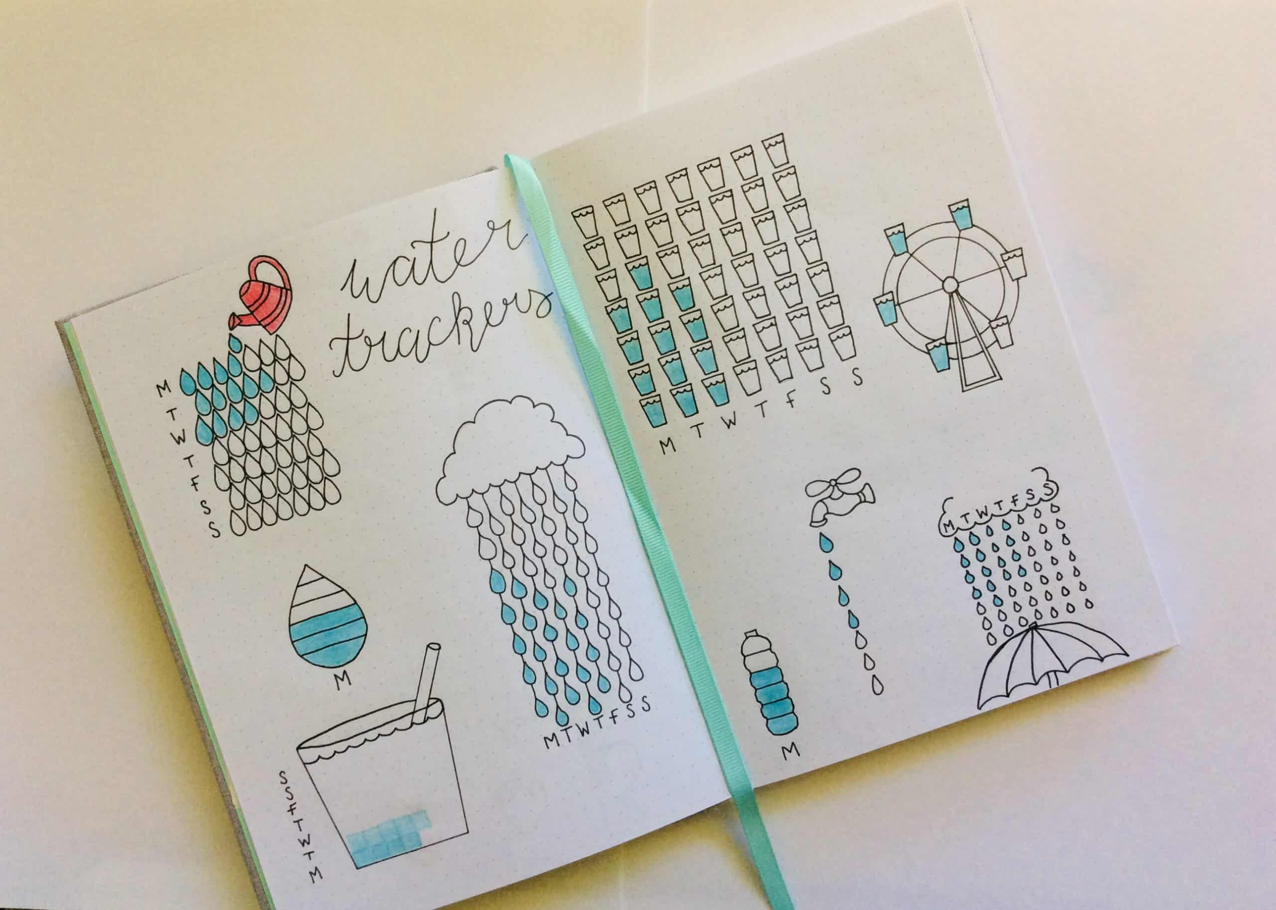 Bujo Water tracker ideas