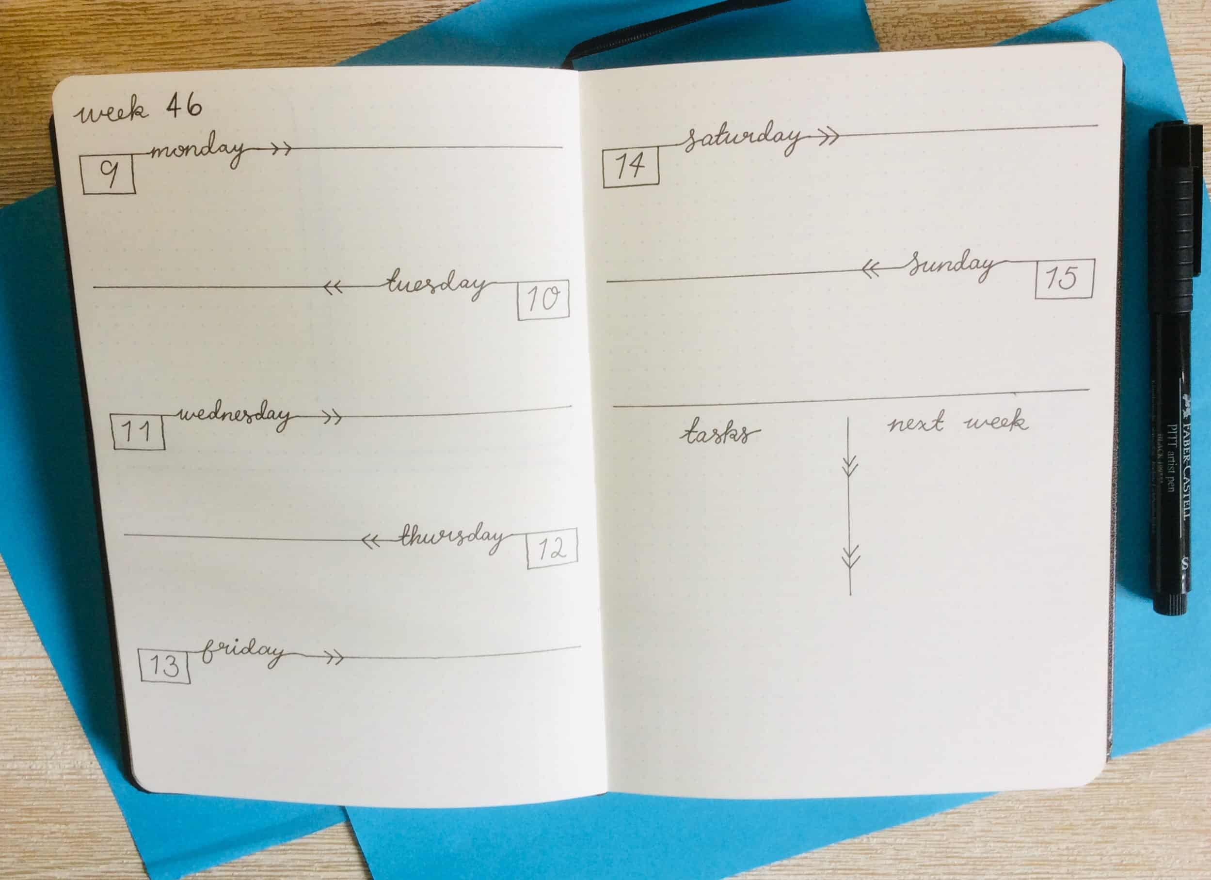 How to Start a Bullet Journal - Weekly Spread