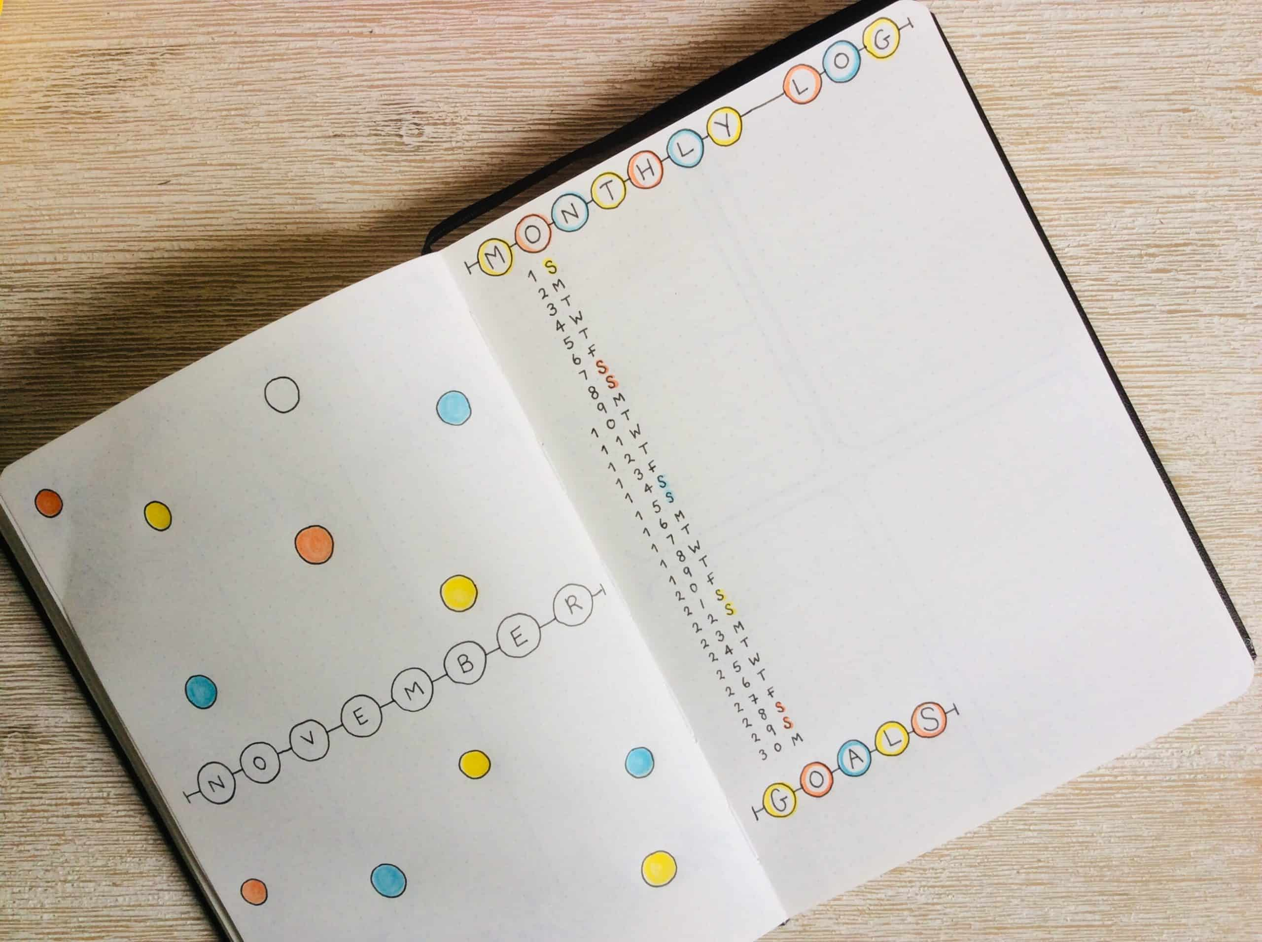 How to Start a Bullet Journal - Monthly Log