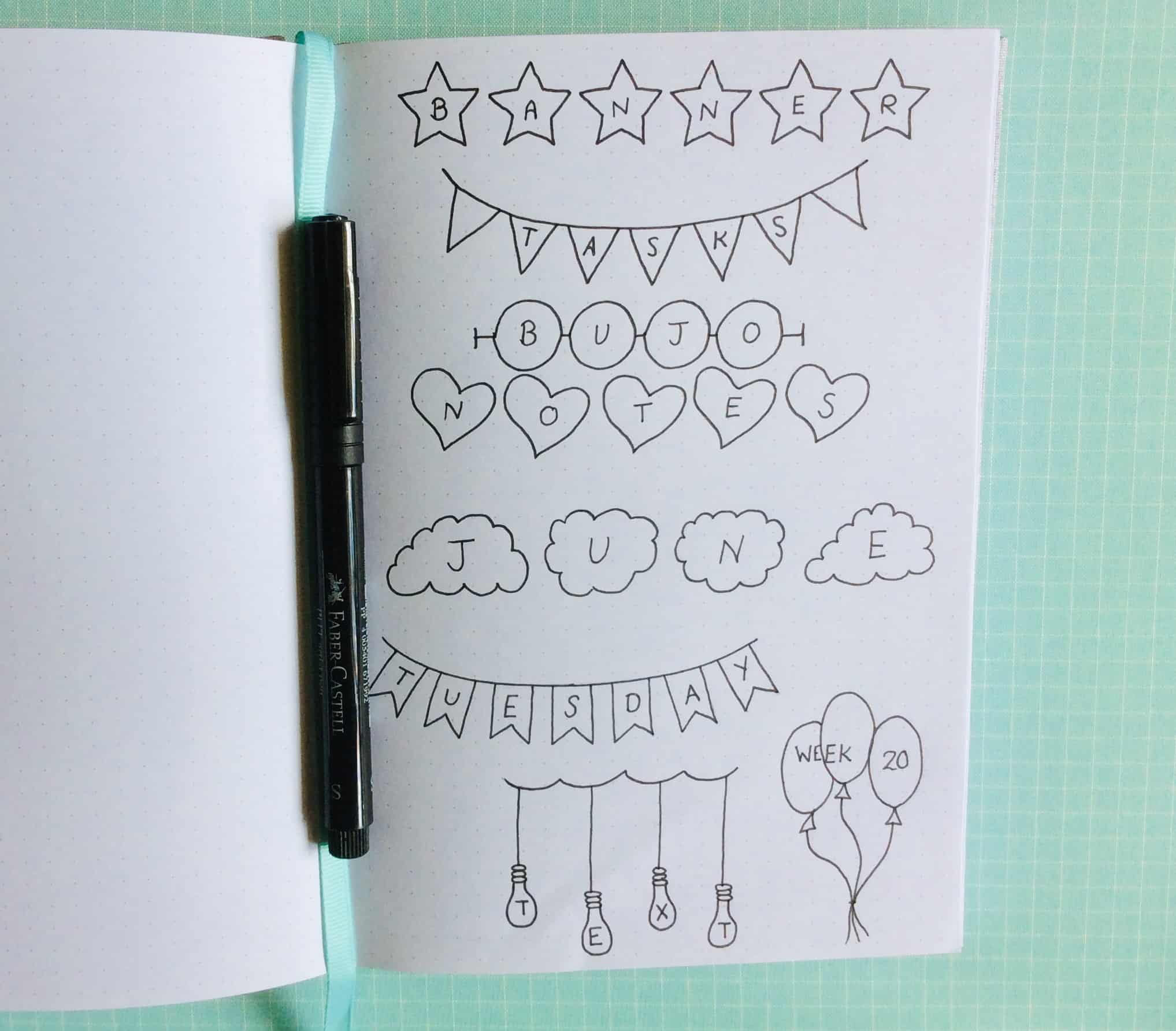 Doodle bullet journal headers