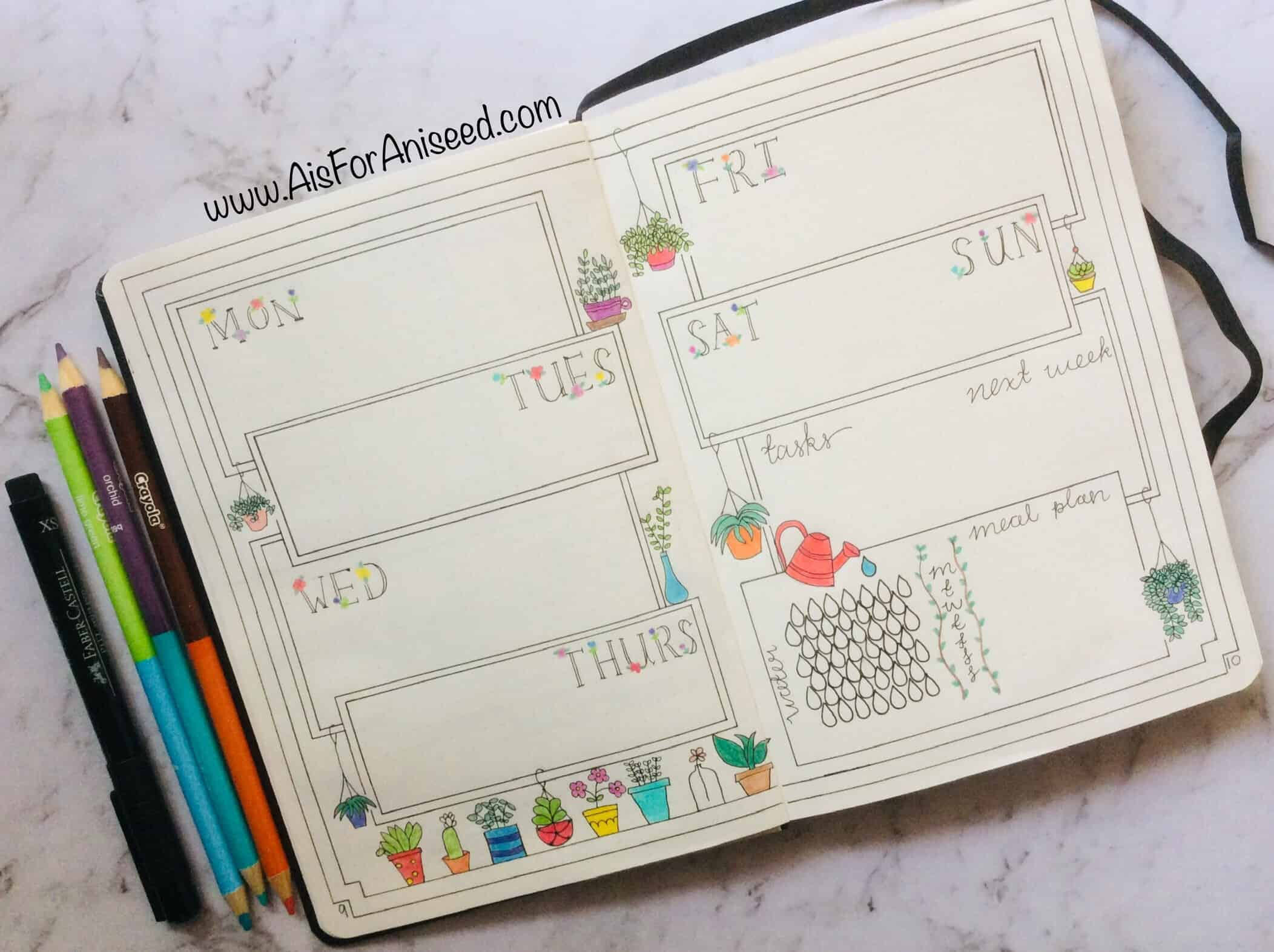 Plant themed bullet journal weekly spread