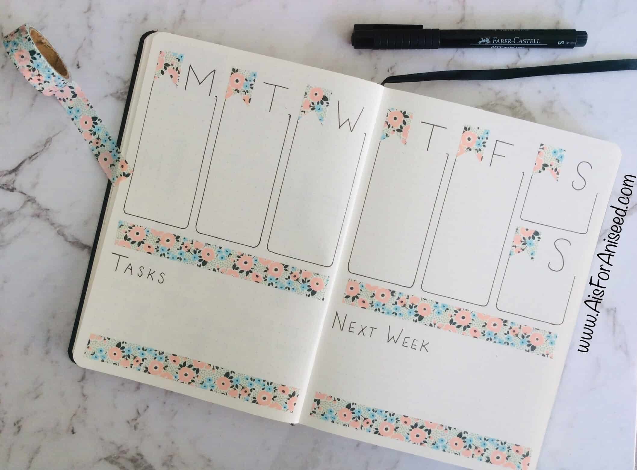 Basic washi tape bullet journal weekly spread